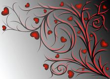 Red pattern with hearts. Red and black vegetative pattern with hearts on gradient background Stock Photo