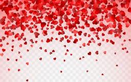Red pattern of random falling hearts confetti. Border design element for festive banner, greeting card, postcard, wedding vector illustration