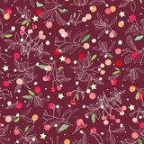Red pattern with rose plant and animals. royalty free illustration
