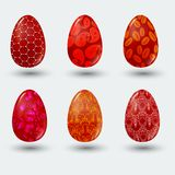 Red patterned easter eggs with shadow on gray background Royalty Free Stock Photo