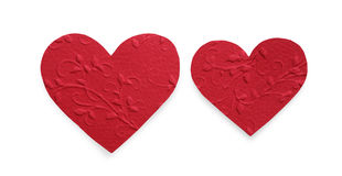 Red patterned paper hearts isolated on white background, valentine day Royalty Free Stock Photography