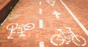 Red paved bike path or a bike is painted in white paint Royalty Free Stock Image