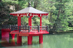 Red pavilion in the pond Royalty Free Stock Photography