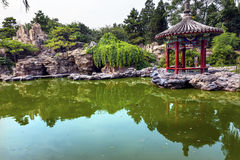 Red Pavilion Pond Temple of Sun City Park Beijing China Stock Photography