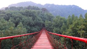 Cloister, Chinese garden, red suspension bridge in Gele Mountain Forest Park, rope bridge stock image