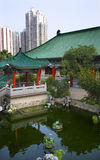 Red Pavilion Water Garden Temple Hong Kong Royalty Free Stock Photos