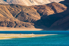 Red pavilions at Pangong Lake.Light and shade from runrise. Pangong Tso, Tibetan for long, narrow, enchanted lake, also referred to as Pangong Lake, is an Stock Photos