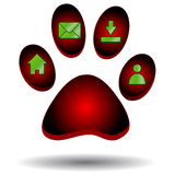 Red paw of an animal Stock Photography