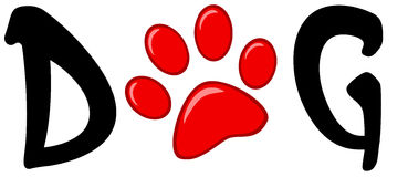 Red paw print in the word dog