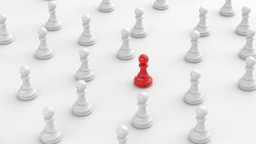 Red pawn of chess. Leadership concept, red pawn of chess, standing out from the crowd of white pawns, on white background. 3D rendering vector illustration