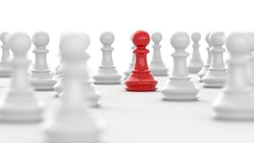 Red pawn of chess. Leadership concept, red pawn of chess, standing out from the crowd of white pawns, on white background. 3D rendering Stock Illustration