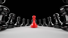 Red pawn of chess. Leadership, success, and teamwork concept, red pawn of chess, standing out from the crowd of black pawns. 3D rendering Stock Images