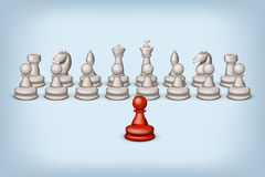 Red pawn and white Royalty Free Stock Photos
