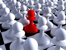 Red pawn of whites. On a chessboard Royalty Free Stock Photo