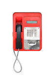 Red pay-phone isolated on white Stock Images