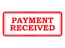 Red Payment Received Stamp or Sticker. Red and white distressed stamp or sticker with the words Payment Received Royalty Free Stock Photo