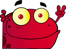 Red peace frog looking around a corner royalty free illustration