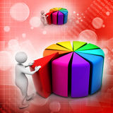 Red peace of pie chart. 3d man pushing  red peace of pie chart Royalty Free Stock Images