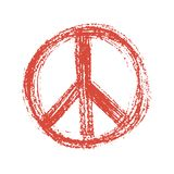 Red peace symbol created in grunge style. Stock Photo
