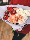 Red, Peach, and White Roses Bouquet Royalty Free Stock Photos