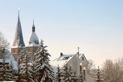 The Red Peaks in Altenburg. Two red towers in winter landscape Stock Photos