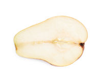 Red pear cut in half isolated Stock Images