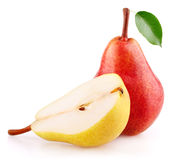 Red pear fruit with leaf and half of yellow pear Royalty Free Stock Photos