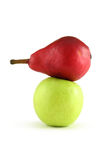 Red pear and green apple. Isolated on white Stock Photography