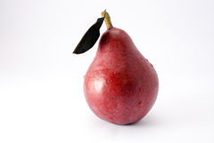 Red pear with a leaf Royalty Free Stock Photos