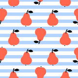 Red pear seamless blue striped pattern on white. Summer fruit cute kid repeat background Stock Photos