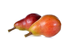 Red pear with stem on white Stock Image