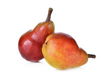 Red pear with stem on white Royalty Free Stock Image