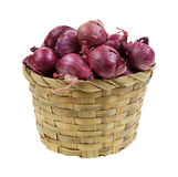Red Pearl Onions in Basket Stock Image