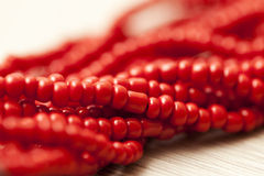 Red pearls background Stock Image