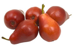 Red Pears. Fresh red pears close up; studio isolated Stock Photo