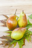 Red pears and autumn yellow maple leaves on a wooden table, close up Royalty Free Stock Images