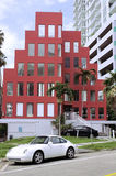Red peculiar architecture building Royalty Free Stock Image
