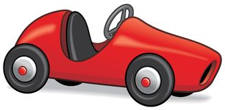 Red pedal car. Retro styled child's pedal car isolated on white Royalty Free Stock Image