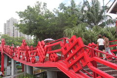 Red pedestrian overpass in SHENZHEN Splendid China plaza Stock Images