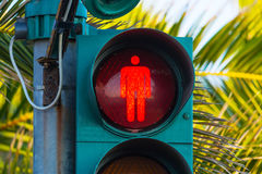 Red pedestrian traffic light. Close up of a red pedestrian traffic light Stock Image