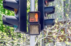 Red Pedestrian Traffic Light. Lighted With Stop Sign Closeup Royalty Free Stock Images