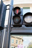 Red pedestrian traffic lights. Highway code, traffic and city life concept - red pedestrian traffic lights Stock Photo