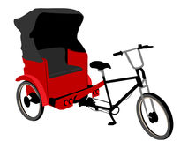 Red pedicab tricycle. A red pedicab or tricycle vehicle design with roof or cover Stock Photo