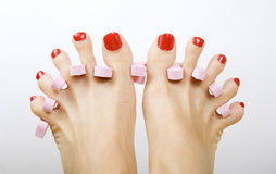 Red pedicure. Female feet with red pedicure Royalty Free Stock Image