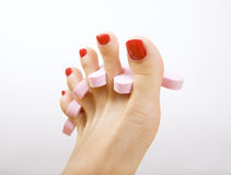 Red pedicure. Female foot with red pedicure Stock Image