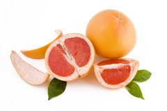 Red peeled grapefruits Stock Image