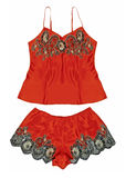 Red peignoir and shorts Stock Image