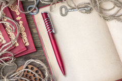Red pen with book Royalty Free Stock Image