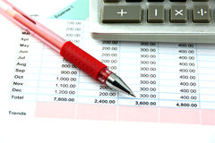 Red Pen and Calculator on the Business graph. Royalty Free Stock Photos