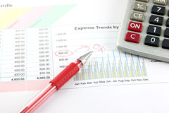 Red Pen and Calculator on the Business graph. Stock Photography